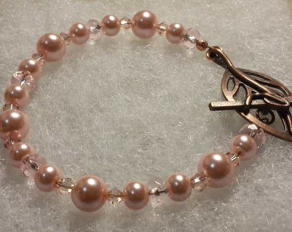 Pink Pearls and Copper Bracelet
