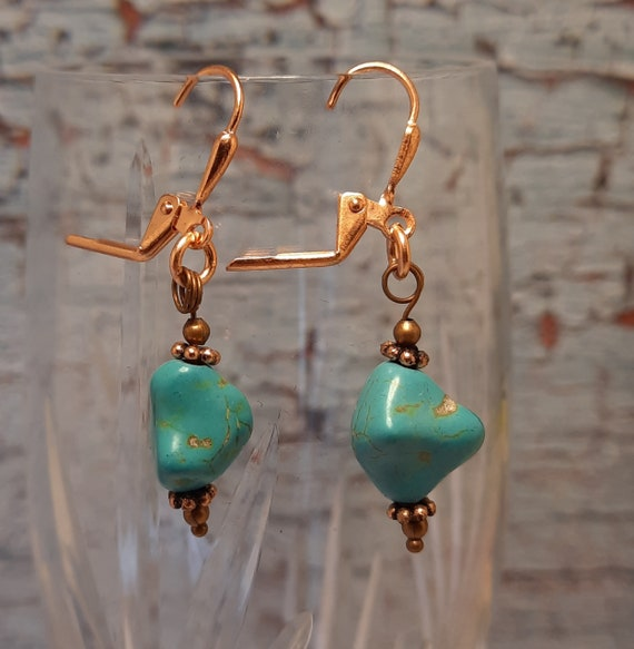 Magnesite Nugget Earrings on Copper