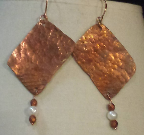 Hammered Copper and Pearl Earrings