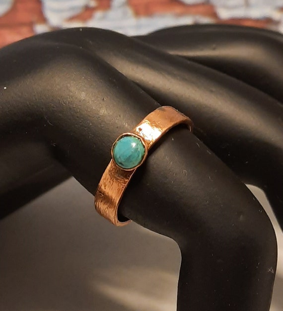 Small Brushed Copper and Turquoise Ring - Size 5 US