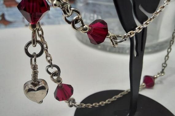 Sterling and Ruby Swarovski Ankle Bracelet - Size 11 1/2 to 12 1/2