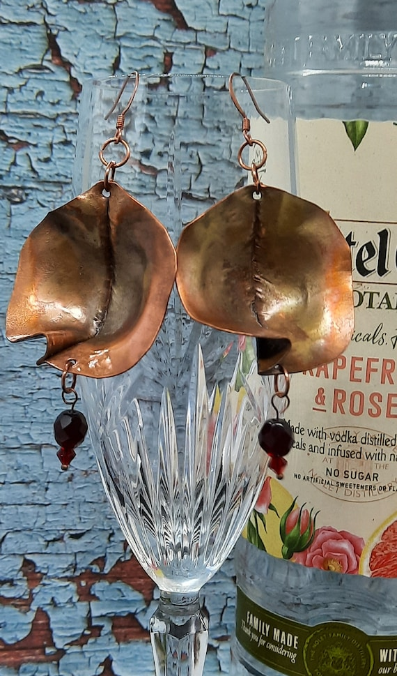 Flame Painted Copper Pod Earrings with Garnet
