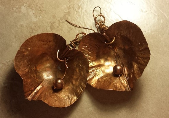 Hand made Copper Pod with Pearl Earrings big and Gorgeous!