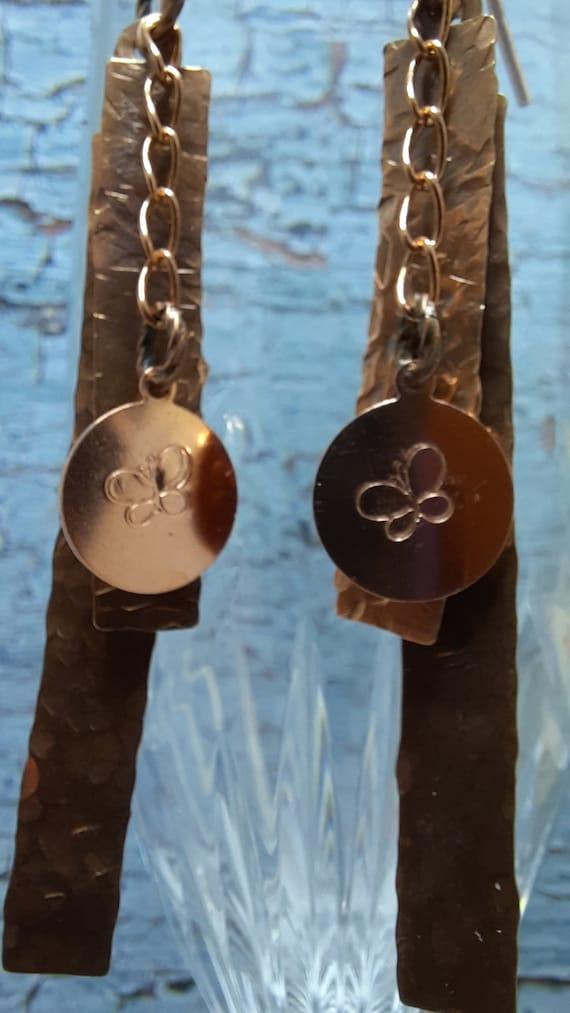 Long Tripple Dangle Earrings - Copper Butterfly