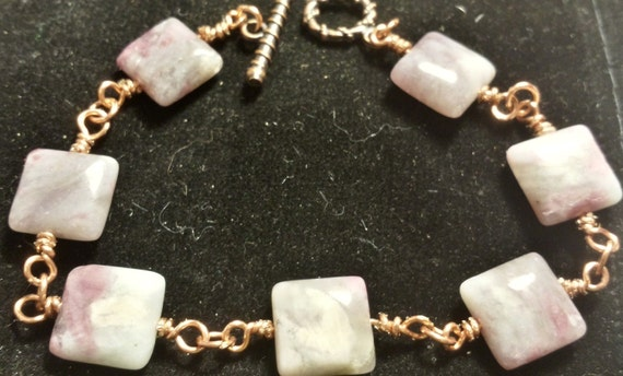Copper and Pink Marble Stone Bracelet
