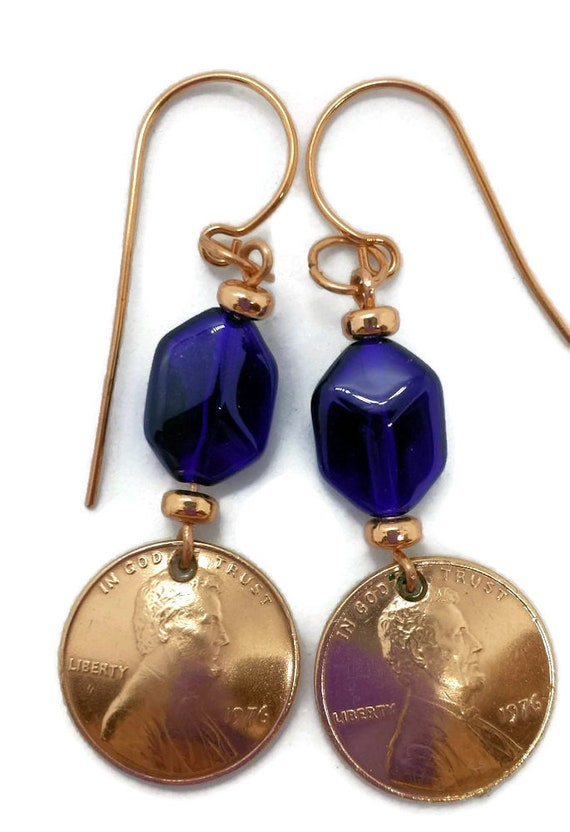 1976 US Penny Earrings with Cobalt