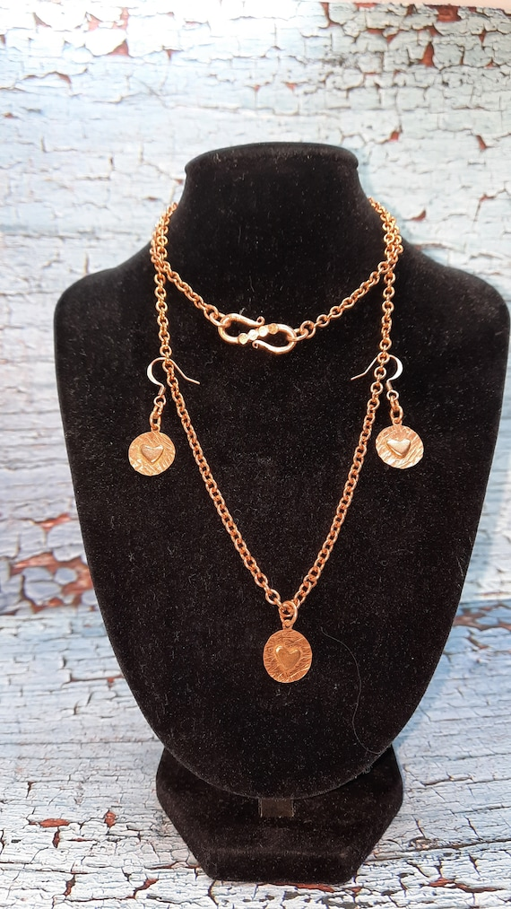 My Heart Copper Necklace and Earring Set