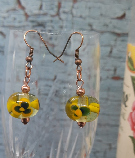 Purple and Yellow Pansy Lampwork Earrings - Copper Accents