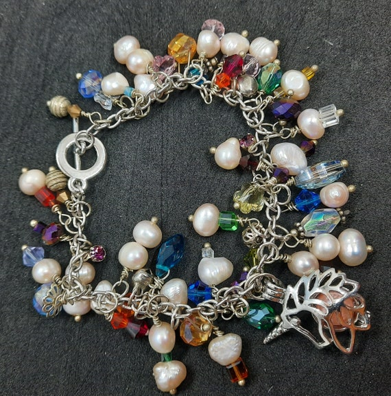 Sterling and Pearl Charming Unicorn Bracelet