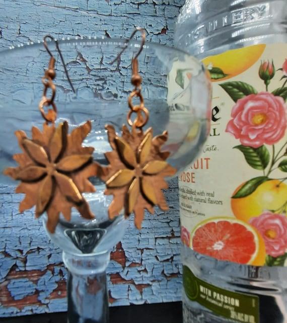 Copper Flower Snowflake Earrings