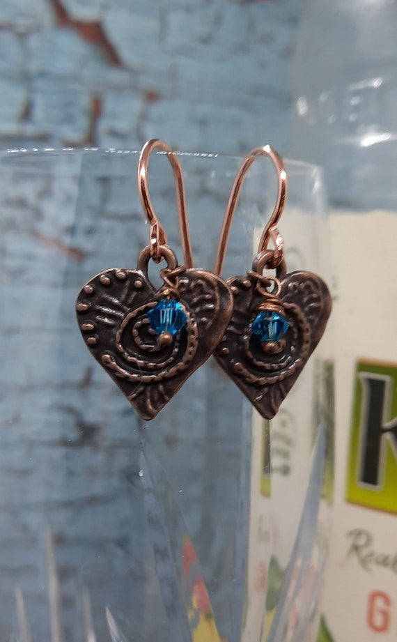 Copper Heart Earrings - Be my Valentine Every Day!