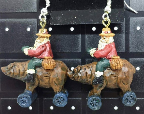 Sugar Plums Christmas Earrings KURT ADLER - St. Nick Riding a bear!
