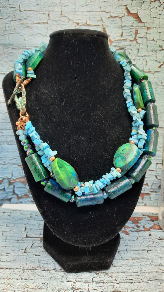 Magnasite and Turquoise Necklace and Earring Set in Copper