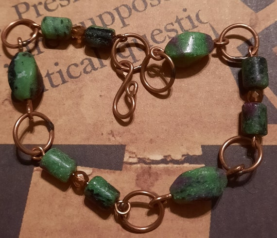 Rustic Ruby and Zoisite Bracelet