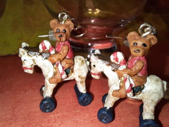Teddy Bear with a Candy Cane riding on a pony - Kurtis Adler Earrings