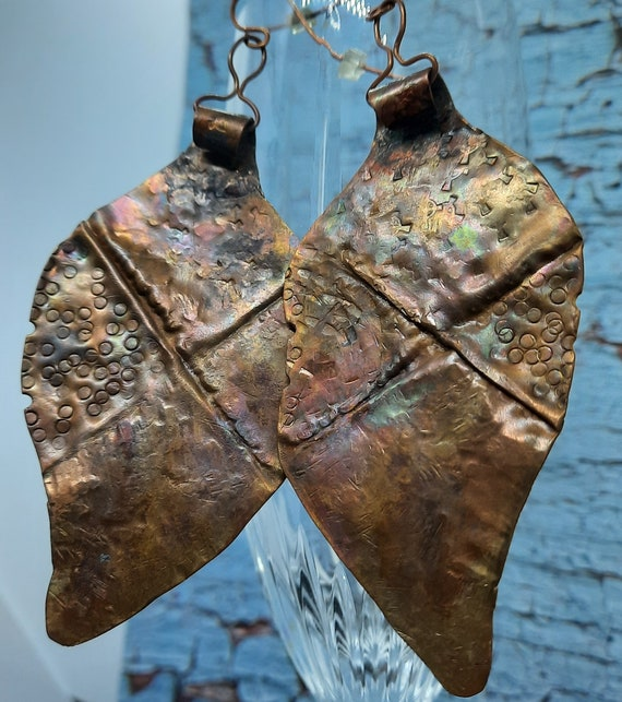 Rustic Forged Copper Leaf Earrings