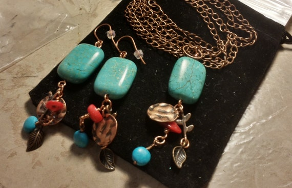 Copper and Turquoise Necklace and Earring Set - with bamboo coral