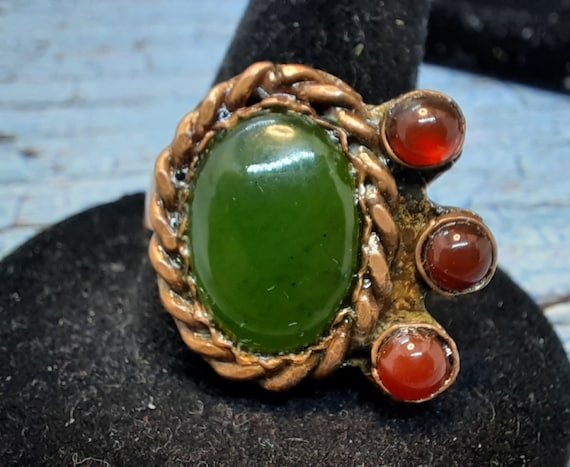 Deep Jade Green and Carnelian Copper Ring - Size 6 (US)