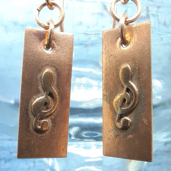 Small Copper Music Treble Clef Earrings