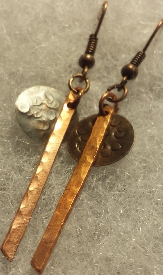 Simple copper dangle earrings