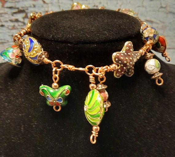 Jingly Copper and Cloisonne Bracelet