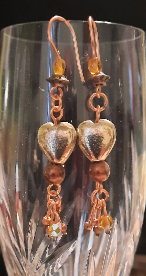 Copper and Gold Heart Dangles!