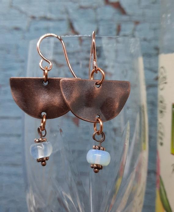 Half Moon Copper with Opalite Earrings