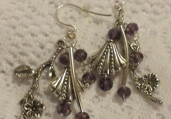 Silver and Purple Crystal Earrings