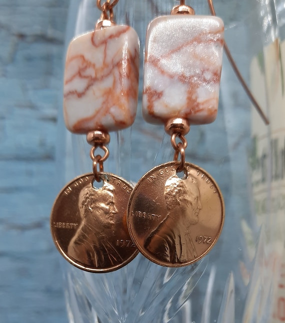 1972 U.S. Penny Earrings on Copper and Pink Marble