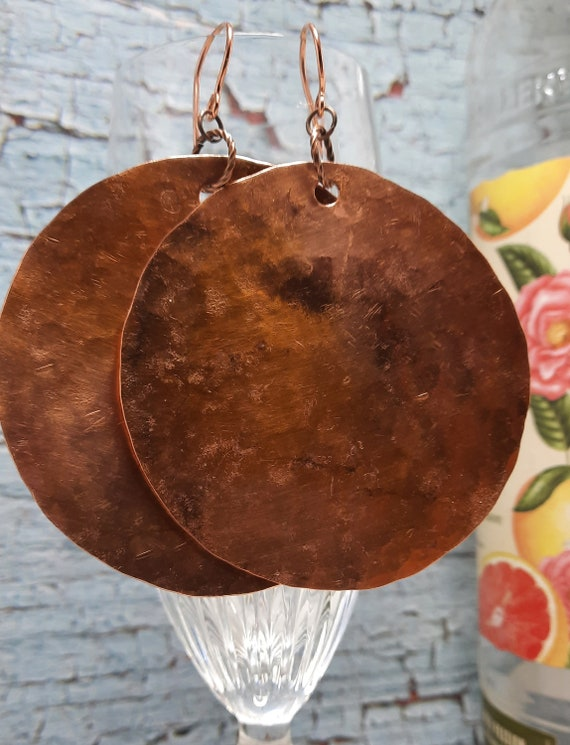BIG 2 1/2 inch hammered copper disk earrings!