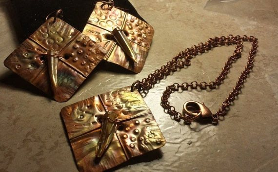 Fold formed Copper Necklace and Earring Set with Mother of Pearl