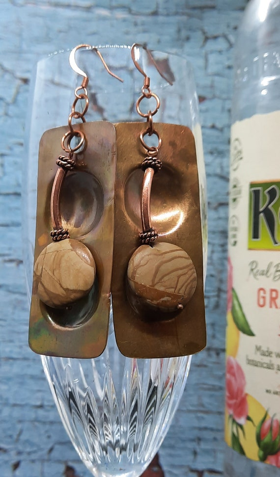 Copper and Picture Jasper Disc Earrings - Express yourself!