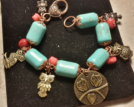 Turquoise and Coral OWL Bracelet - Copper