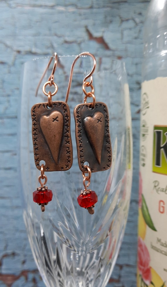 Copper Mended Heart Earrings with Red Crystal