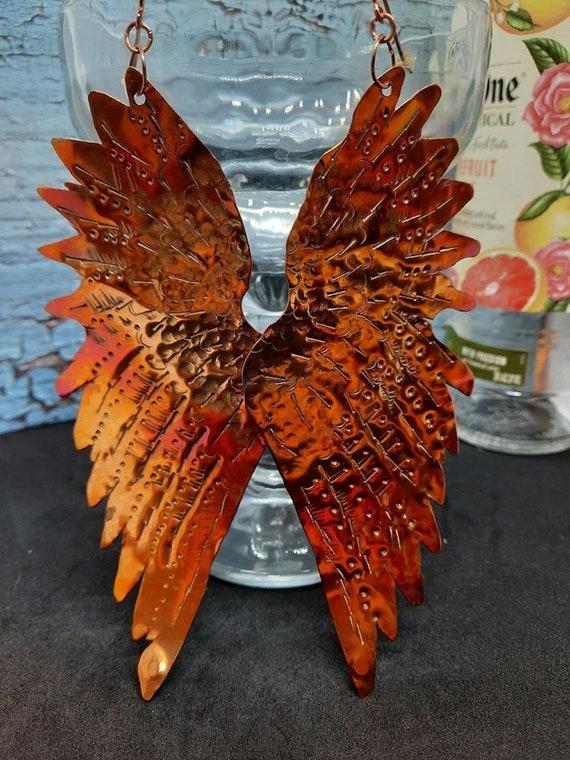 Flame Painted Copper Angel Wing Earrings
