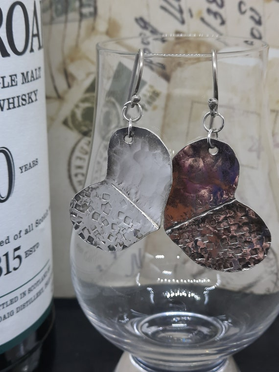 Fold-Formed and Hammered Fat Sterling Silver Heart Earrings