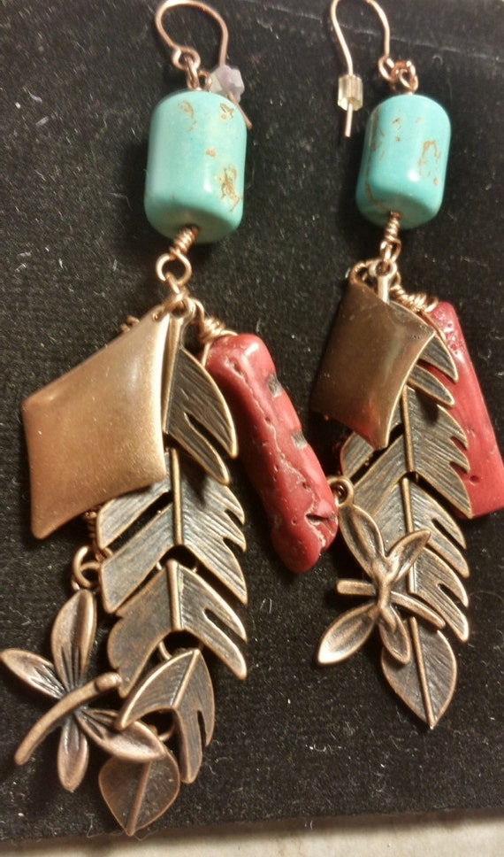 Copper Feather Turquoise and Coral Earrings