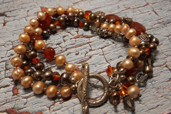 4-Strand Carnelian Bracelet with Sterling Toggle and Earrings - Exquisite!