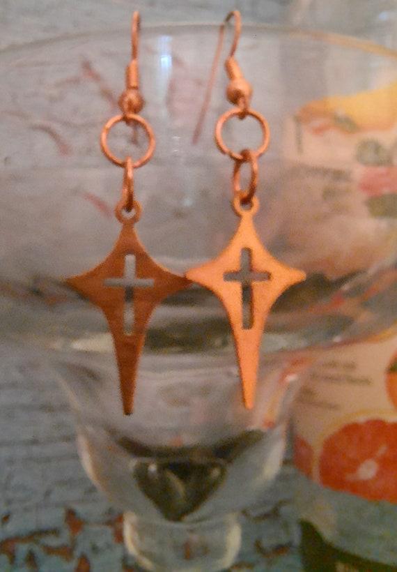 Star and Cross - Petite Copper Earrings