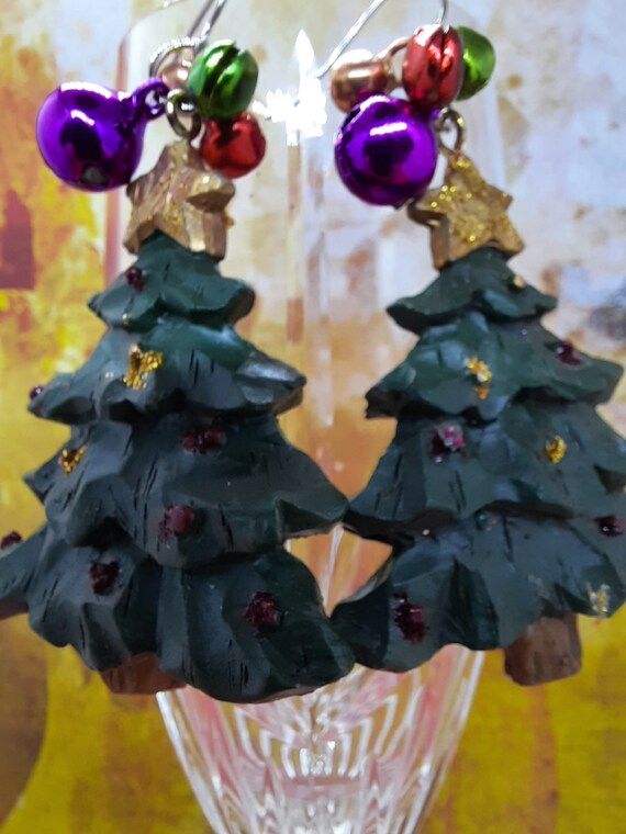 Poly Christmas Tree with bells!  Jingle all the way!  Sugar Plums Earrings