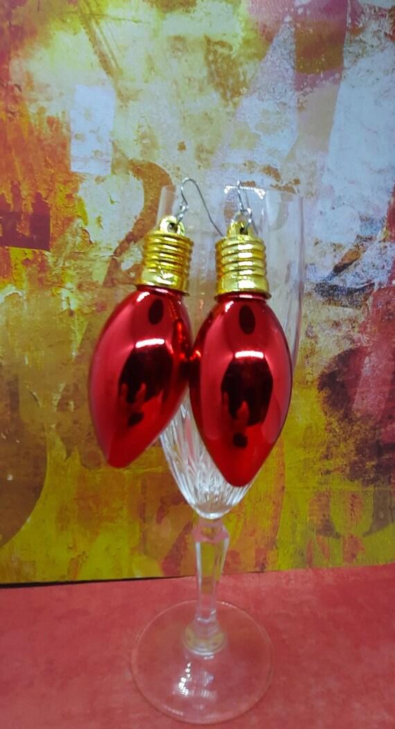Large Red Fancy Bulb Christmas Earrings - Sugar Plums!