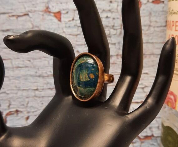Ghost Eye Jasper Copper Ring Size US 8