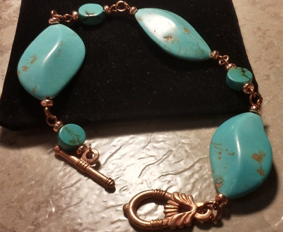 Stunning Turquoise Magnesite and Copper Bracelet