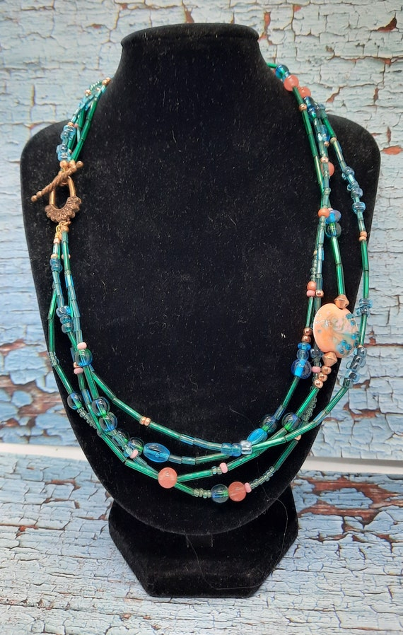 4-Strand Peach and Seafoam Necklace with Lamp Work -- Plus Earrings