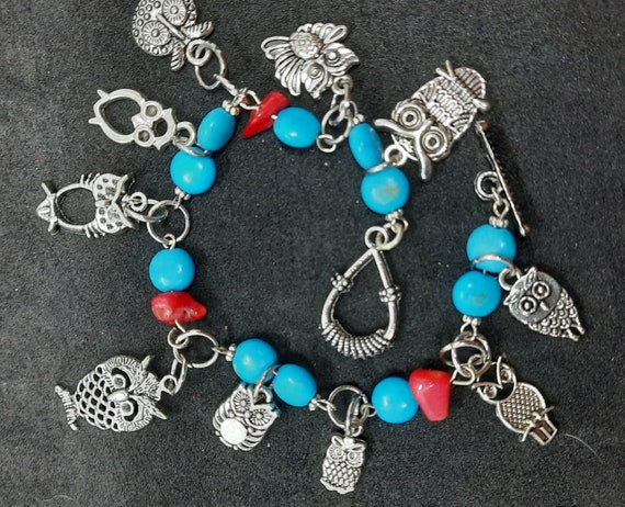 Silver, Turquoise and Coral OWL charm Bracelet