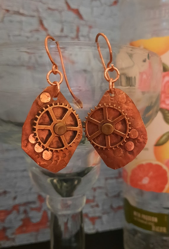 Steam-Punked Me!  Hand hammered and riveted Earrings