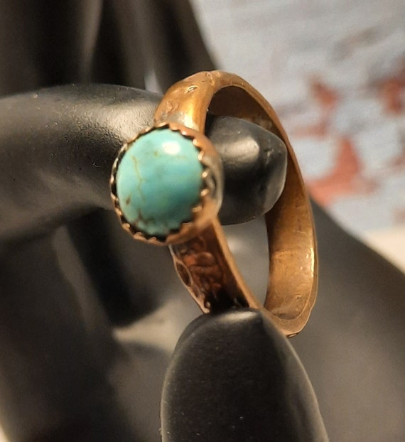 Rugged Hand-Hammered Copper and Turquoise Ring size 8 1/2