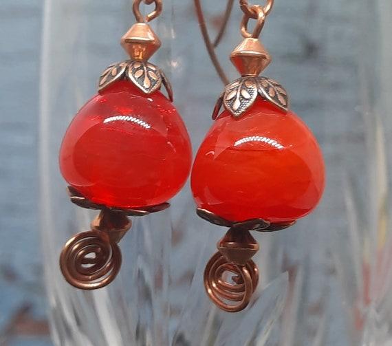 Uniquely Orange Blown Lampwork Earrings on Copper