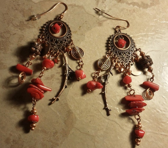 Dancing Tribal Coral Earrings