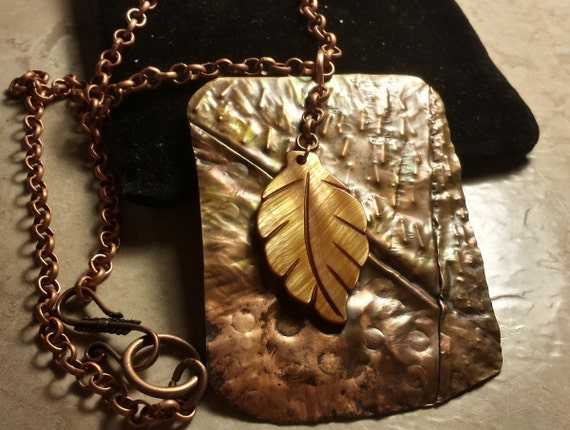 Organic Fold-Formed Copper Pendant With Mother of Pearl Leaf